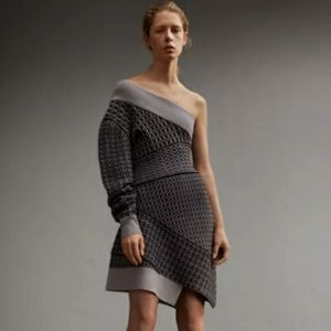 Burberry One-Shoulder Knit Wool Blend Sweater Dres